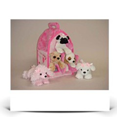 Plush Pink Dog House With Dogs